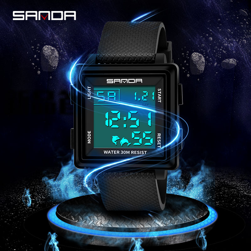 SANDA Luxury Brand Mens Sports Watches Dive Digital LED Military Watch Men Fashion Electronic Wristwatches relogio masculino 363