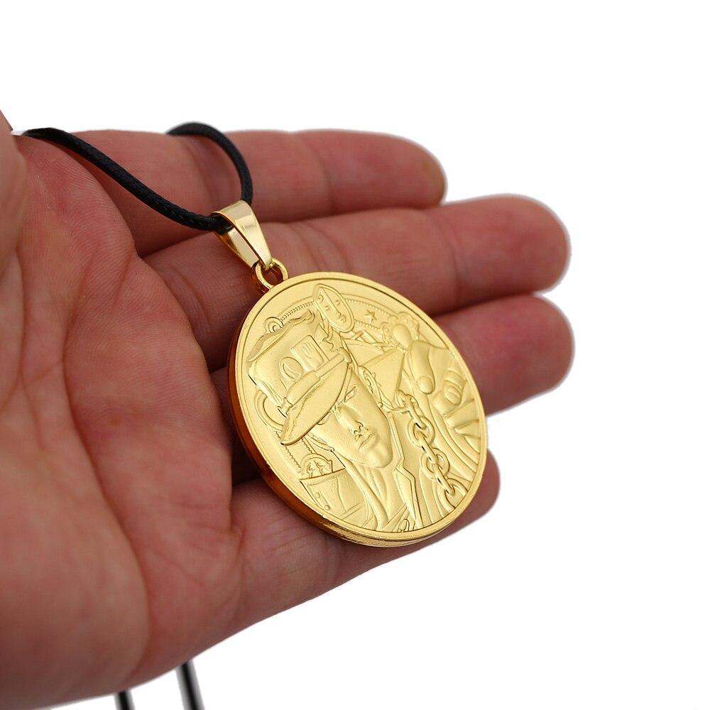 Anime JoJos Bizarre Adventure Necklace Men Round Gold Metal Kujo Jotaro Star Giorno Giovanna Pendant Necklace Women Rope Chain in Pendant Necklaces from Jewelry Accessories
