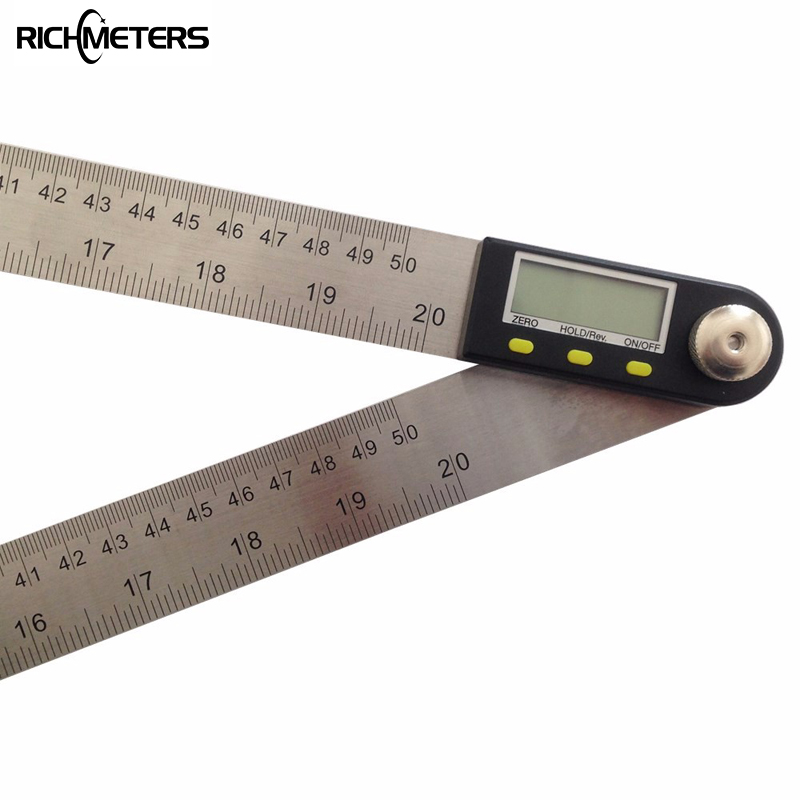 500mm Digital Protractor Inclinometer Goniometer Level Measuring Tool Electronic Angle Gauge Stainless Steel Angle Ruler  elecall 200mm digital protractor inclinometer goniometer level measuring tool stainless steel waterproof electronic angle gauge