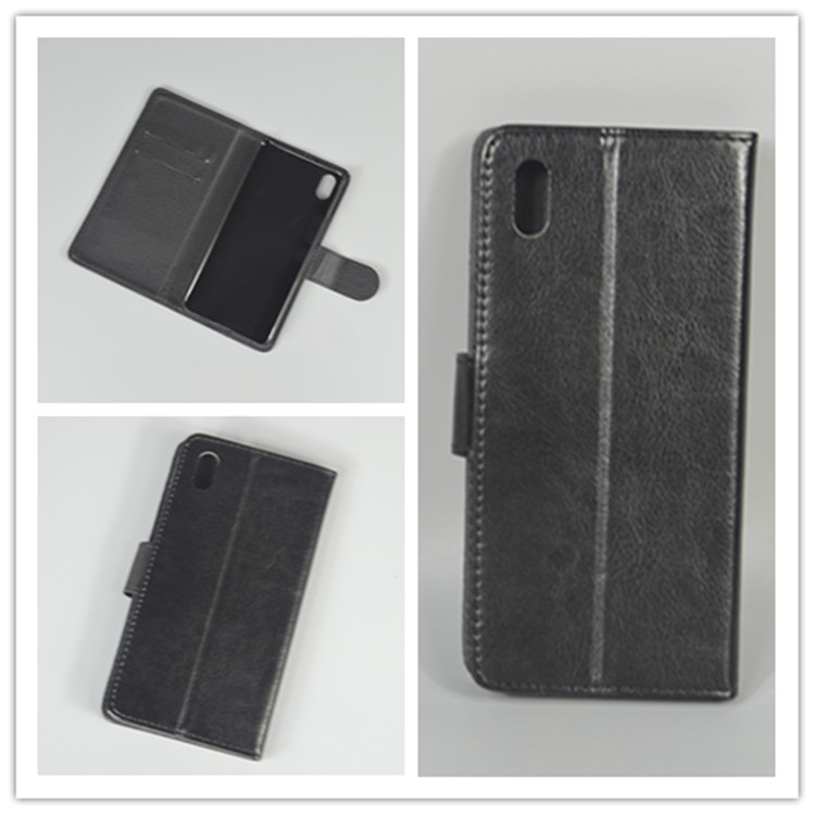 Crystal grain wallet case hold two Cards with 2 Card Holder and pouch slot For BQ Aquaris X5 X5.0
