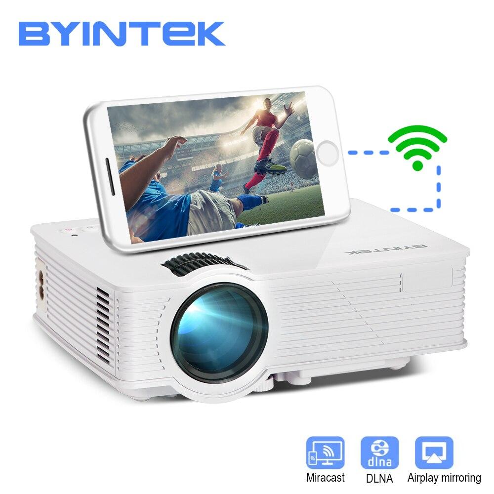 BYINTEK CÉU BT140plus Mini LED Projetor HD Projetor de Home Theater Sem Fio Impulso Multi-tela Mircast Airplay para Iphone Smartphone