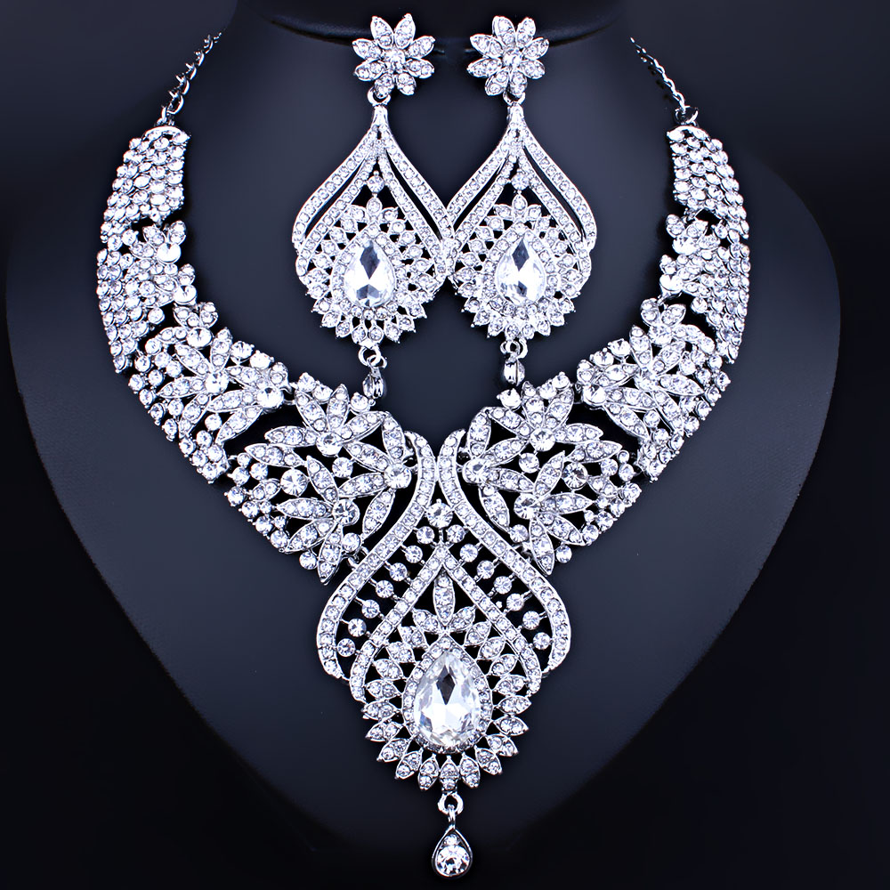 Bridal Jewelry Silver Plated necklace and earrings set with full AB Rhinestones Crystal Wedding Jewelry Sets цены