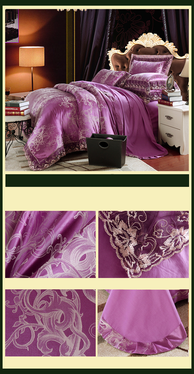 New Luxury Embroidery Tinsel Satin Silk Jacquard Bedding Set, Queen, King Size, 4pcs/6pcs 34