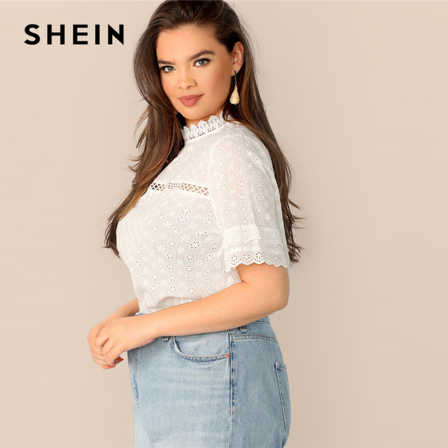 SHEIN Boho Plus Size White Contrast Lace Insert Schiffy Stand Collar Plain Top Blouse Women 2019 Spring Casual Top Blouses 2