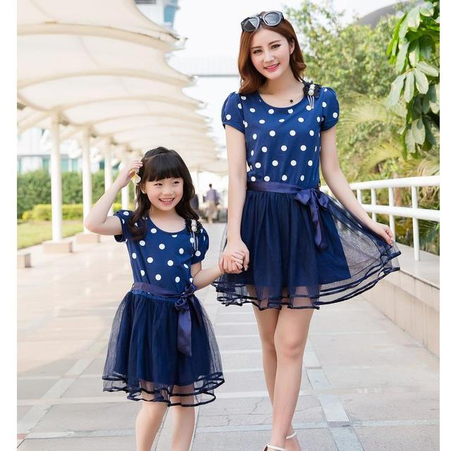 Mom and Daughter Dress New 2016 Mother Daughter Dresses Fashion Blue Dot Mother and Daughter Clothes 2-10Yrs Girls Dress Lovely
