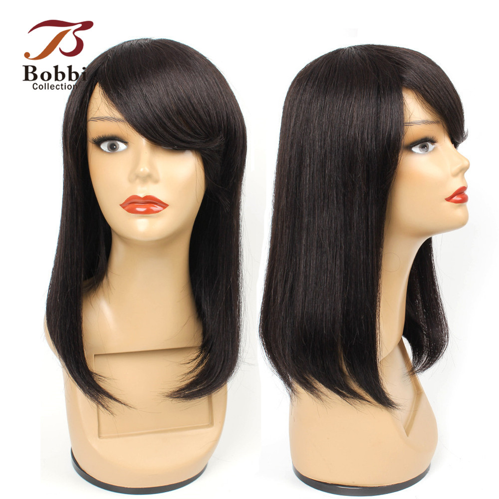 Bobbi Collection Human Hair Wigs With Bang Bob Style Natural Color Straight Brazilian Remy Hair Wig Lace Crown 10 12 14 Inch