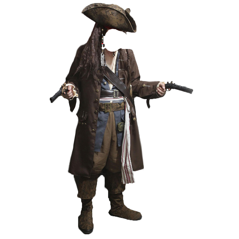Caraïbes Pirate Adulte Hommes Grand Heritage Collection Deluxe costume Jack Sparrow de luxe manteau ensemble