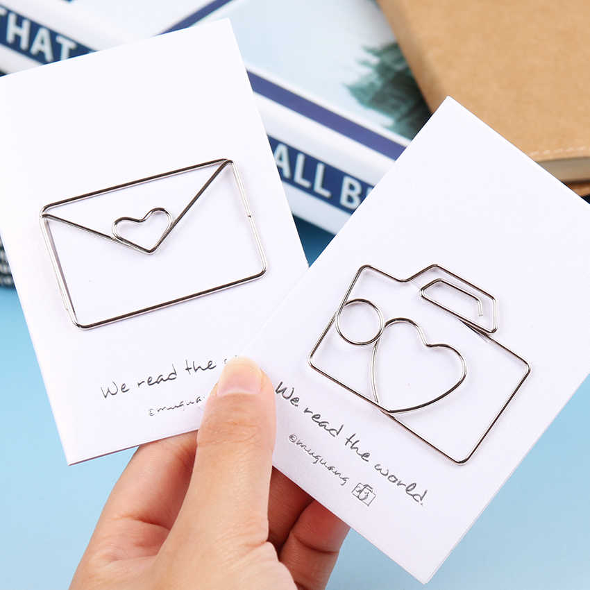 1PC/lot Animals Modeling Paper Clips Cat Rose Metal Silver Paper Clips Animals Kawaii Styles Bookmark Office Stationery