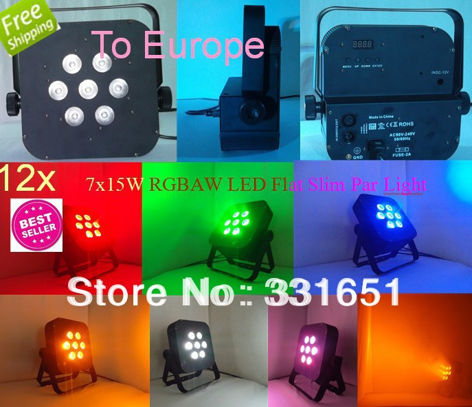 12pcs/lot Blizzard Lighting RGBAW 5IN1 Flat 7x15W LED Par Light IN STOCK and Fast Delivery