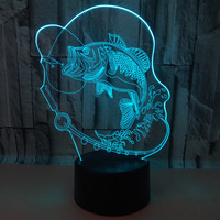 Fishing Carp 3d Lamp 7 Colors Remote Control Touch 3d Led  Desk Lamp Creative Gift Table Lamps For Living Room