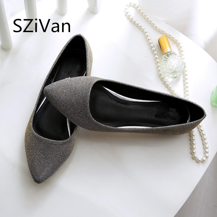 SZiVan Women's Flats shoes 2018 New Large size 33-45 Fashion pointed Toe sequined cloth Comfortable Women casual shoes pu pointed toe flats with eyelet strap