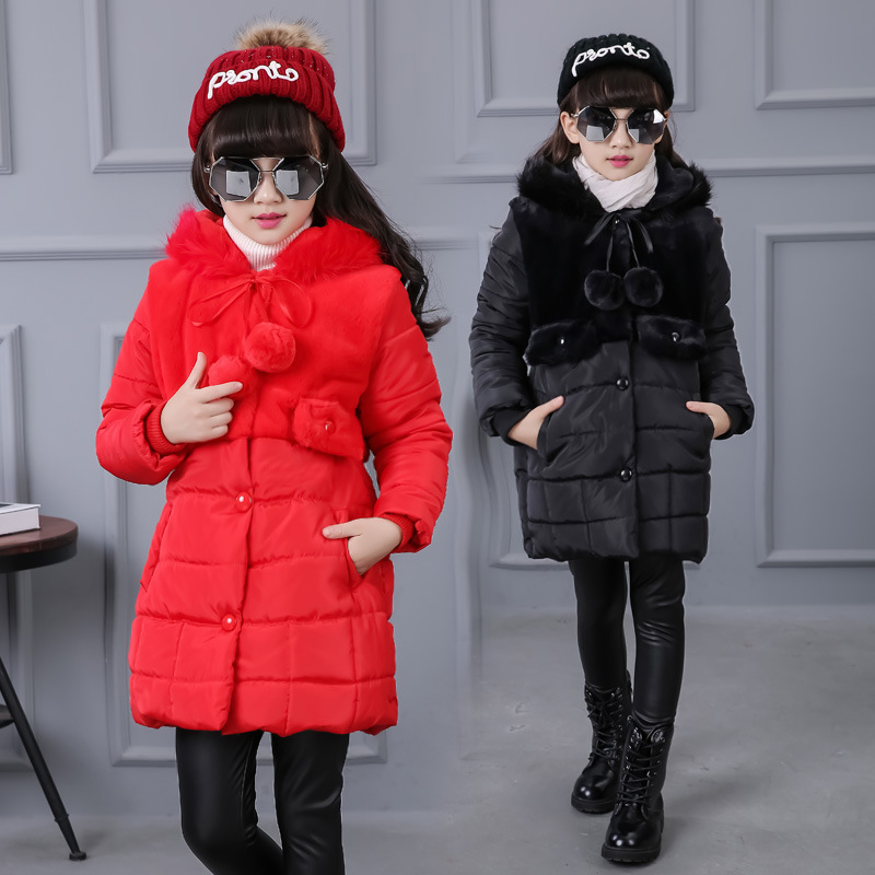 ФОТО 2016 new British children 's cotton - padded jacket winter coat children' s children in children 's hair ball cotton clothing
