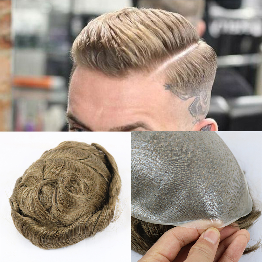 0.03 To 0.05mm V-looped Natural Hairline Single Knots Back Non-surgical Men Hair System Thin Skin Toupee Hair Replacement System