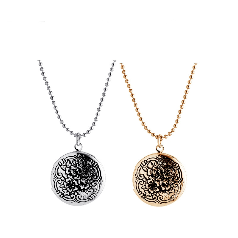 New 2PCS/Lot Openable Vinage Silver Gold Round Flower Floating Locket Necklace For Women Jewelry,Birthday Gift,MDNEN