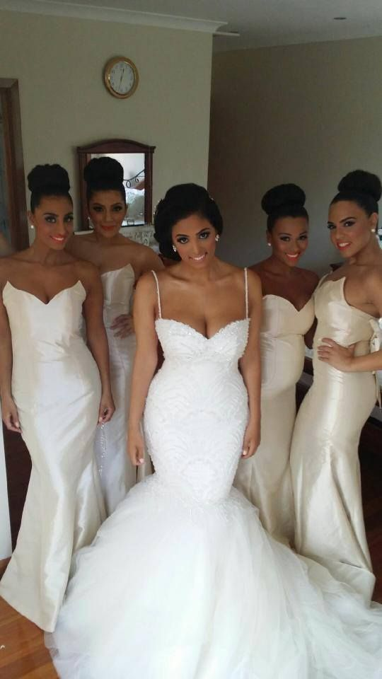 Buy white ivory mermaid bridesmaid dresses sweetheart long for Daytime wedding dresses for guests