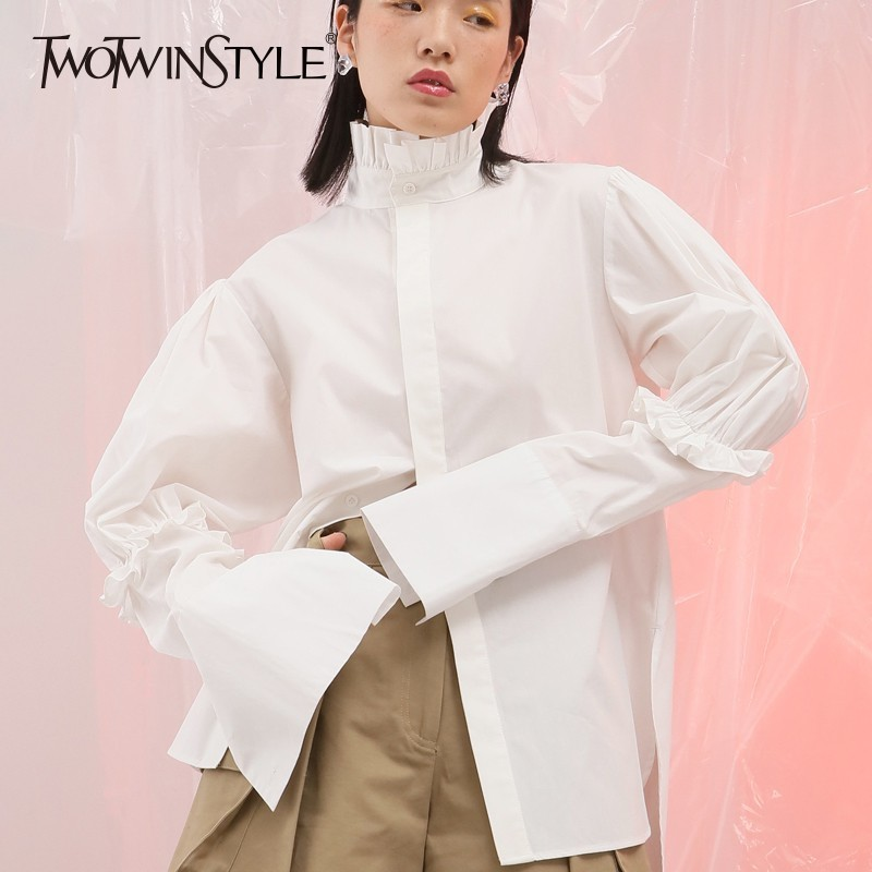 TWOTWINSTYLE Backless Blouse Female Ruffles Patchwork Stand Collar Lantern Sleeve Shirt Women Autumn Fashion Elegant Clothes