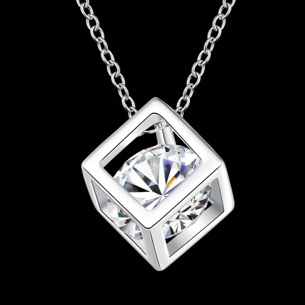 "Partai Besar Perhiasan 925 Sterling Silver Kalung Square Liontin Cubic Zirconia CZ 18 ""Rantai Wanita Gadis Musim Panas Perhiasan"