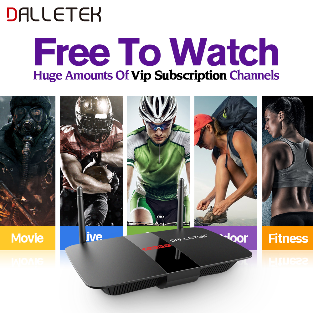 Dalletektv R1 Media Player Quad Core Android TV Box arabic Sport Channel iptv Italian subscription 1 year Europe French STB