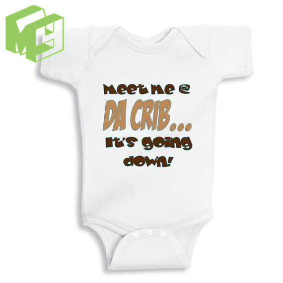c085d6a8b Meet me at da crib Funny baby Gift White Onesie for 0 12M Newborn ...