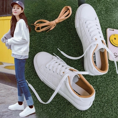 Women Sneakers Leather Shoes 2020 Spring Trend Casual Flats Sneakers Female New Fashion Comfort Lace up Vulcanized Shoeswinter fashionwinter winterwinter white -