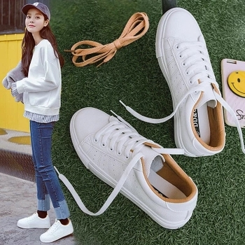 Women Sneakers Leather Shoes 2020 Spring Trend Casual Flats Female New Fashion Comfort Lace-up Vulcanized