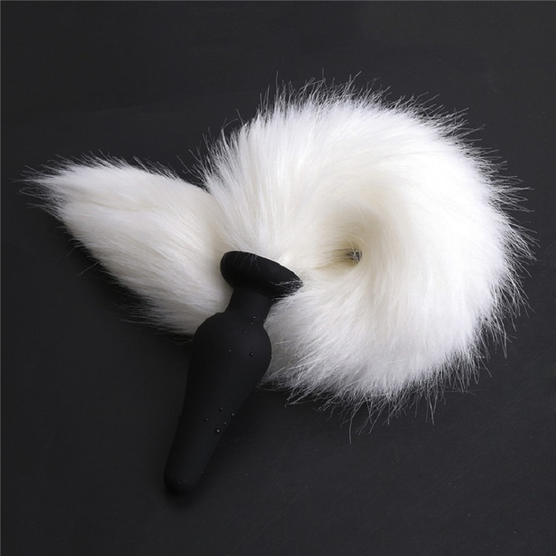 New large black silicone Anal Plug beads white fox tail Butt plug Role Play Flirting Fetish sex Toy for Women