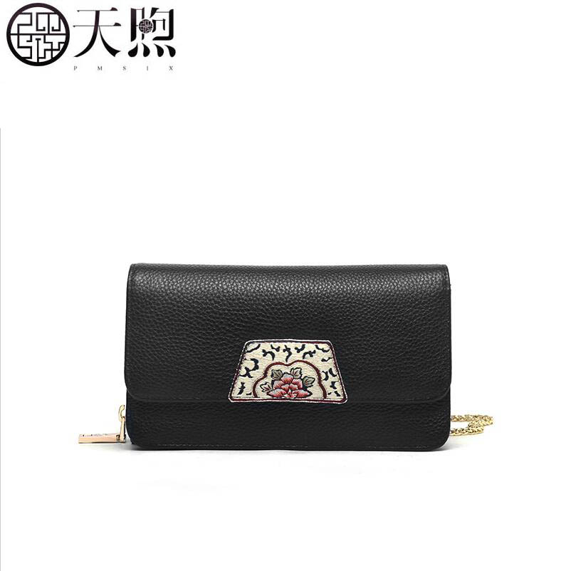 PMSIX 2019 New women Genuine Leather bag fashion Cow Material Luxury embroidery clutch bag  shoulder crossbody bag for womenPMSIX 2019 New women Genuine Leather bag fashion Cow Material Luxury embroidery clutch bag  shoulder crossbody bag for women