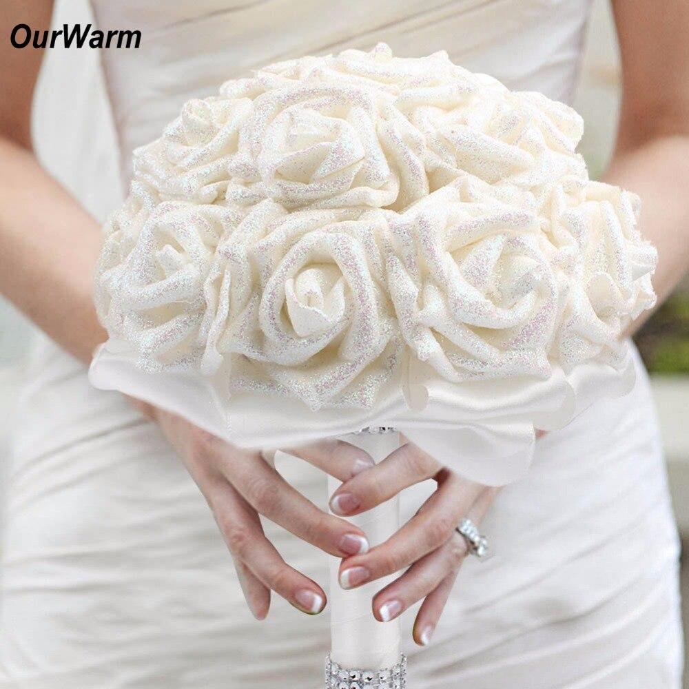 Ourwarm Shimmer Wedding Flower Bouquet Rose Artificial Flowers