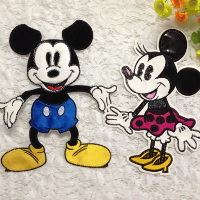 4pcs Cartoon Minnie Mickey Patch Embroidered Patches For Celeb Dress Blouse Accessories Blouse Appliqued Badge parches bordados