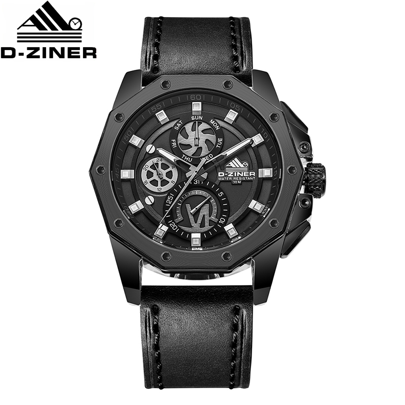 D-ZINER marque de luxe hommes japon montre à Quartz noir bracelet en cuir véritable homme montres Sport montre mâle horloge Reloj Hombre Uhren