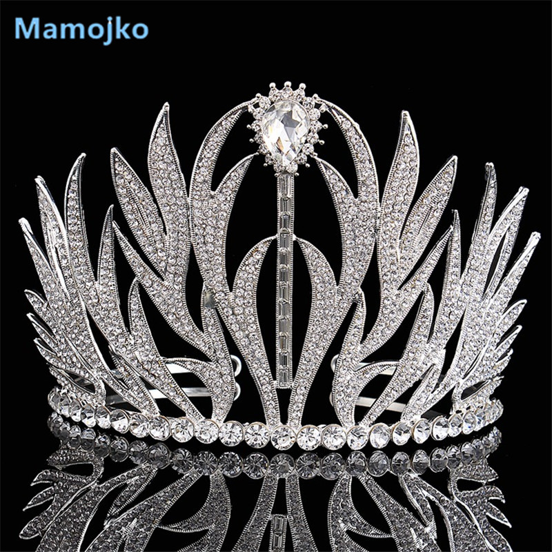 Mamojko New Wholesale Silver Crystal Queen Crown Wedding Dress Accessories Fashion Headdress Hair Jewelry Rhinestone Bride TiaraMamojko New Wholesale Silver Crystal Queen Crown Wedding Dress Accessories Fashion Headdress Hair Jewelry Rhinestone Bride Tiara