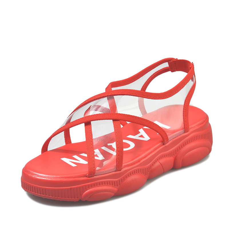 Cremulen 2019 Fashion women flat shoes causal shoes Outside summer sandals soft leather leisure ladies Transparent beach shoes in Women 39 s Sandals from Shoes