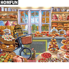 """HOMFUN Full Square/Round Drill 5D DIY Diamond Painting """"The Bakery"""" 3D Embroidery Cross Stitch 5D Home Decor A00777"""