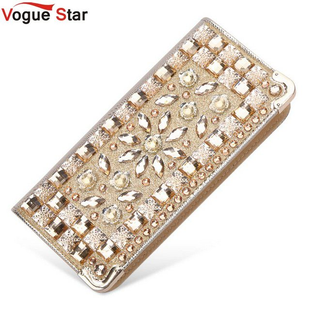 Vogue Star Luxury rhinestone women wallets patent leather high quality wallet lady fashion clutch bag casual purses party LA175