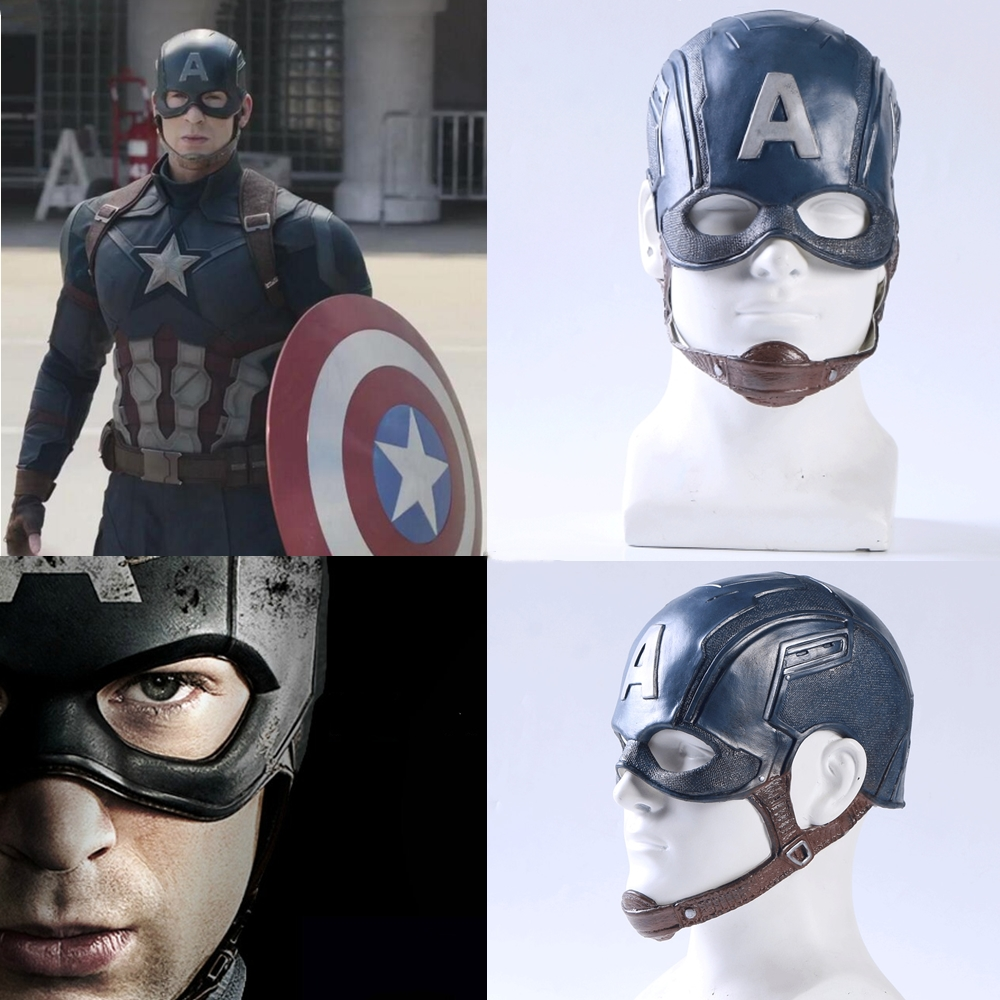 Film Captain America 3 Guerre Civile Captain America Masque Cosplay Steven Rogers Superhero Casque De Latex Halloween Pour Hommes Fête Prop