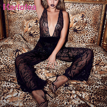 Deep-V Neck Solid Sexy Party Full-Length Jumpsuit