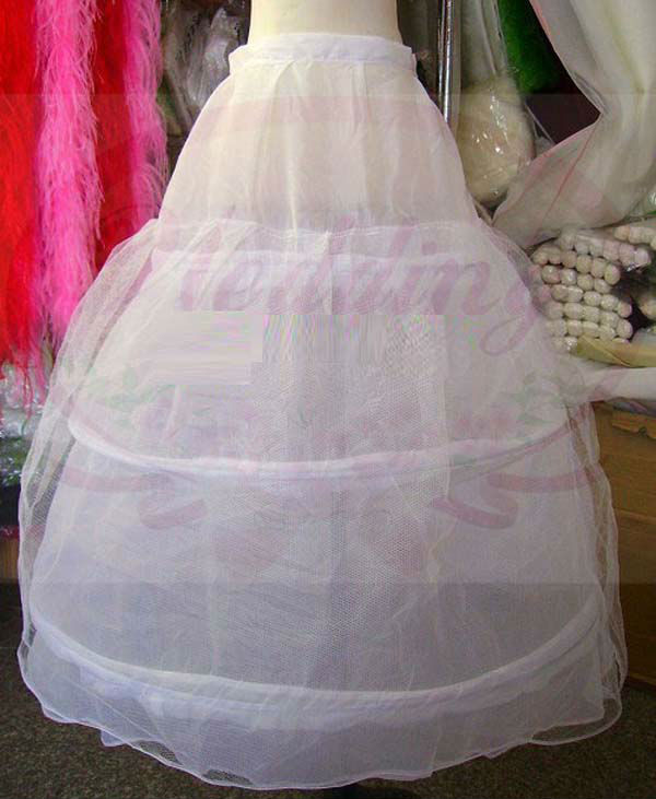 3 Hoops 2 Layer White Wedding Bridal Gown Dress Super Full Petticoat Crinoline