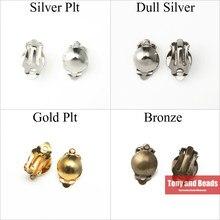 (30 pièces = 1Lot ! ) Demi-boule Clip sur boucle d'oreille résultats de bijoux or argent Bronze plaqué pour la fabrication de bijoux EW10