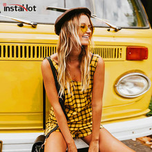 InstaHot amarillo Plaid bolsillos Backless Playsuits mujeres 2018 verano moda Pantalones cortos monos suelta Casual ropa Popular(China)