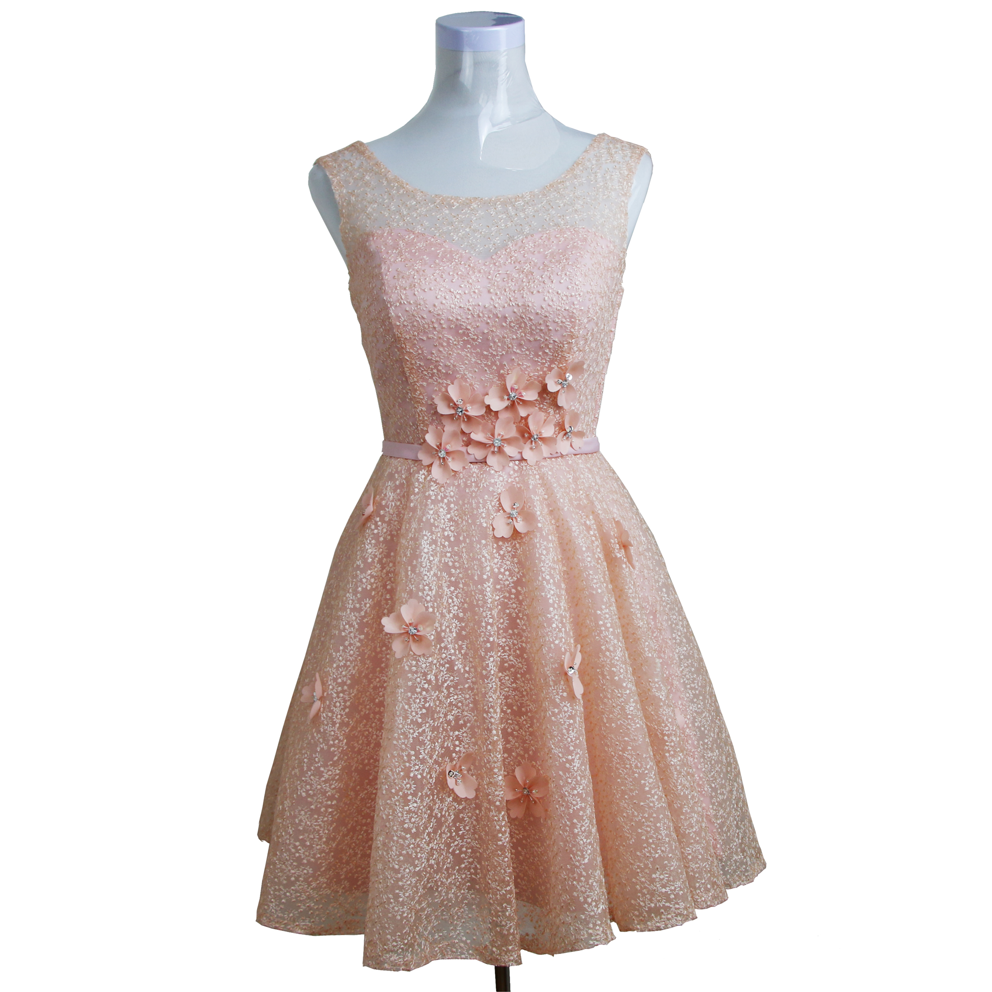 Princess Light Pink Lace Wedding Dress With Off The: Light Pink Lace Floral Appliques Beaded Sleeveless Short