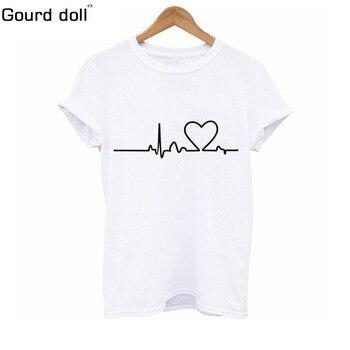 Harajuku Heart Beat Printed T Shirt
