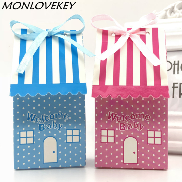 20pcs Pink Blue Cute House Style Wedding Favors Welcome Baby Shower First Birthday Gift Box Candy