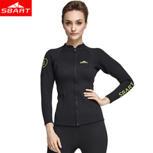 204a56fa80 SBART Women 2MM Neoprene Wetsuit Top Jacket Anti-UV Long Sleeve Swimsuit  Shirt Spearfishing Swimming Diving Top Jacket Wetsuits