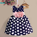 Розничная новый 2015 новый Горошек Девушки летнее Платье детская одежда платья Бантом Рукавов Принцесса Дети Одежда для новорожденных