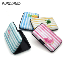PURDORED 1 pc Flamingo Card Holder Aluminum Business ID Credit Card Case Holder RFID Card Wallet Case tarjetero Dropshipping