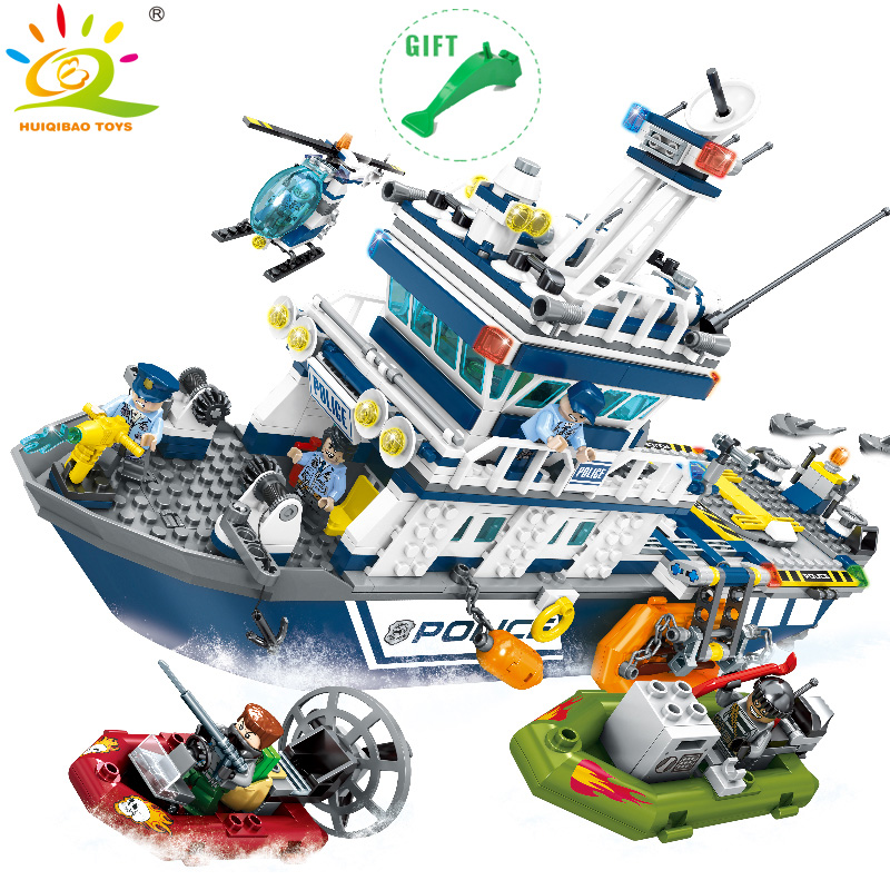 HUIQIBAO TOYS Police Building Blocks Sets DIY Police Patrol Boat Helicopter Figures Compatible Legoe City Toys For Children Gift 1700 sluban city police speed ship patrol boat model building blocks enlighten action figure toys for children compatible legoe