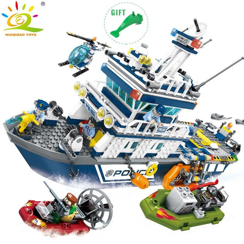 HUIQIBAO jouets 869 pièces Police patrouille bateau navire de guerre blocs de construction pour enfants ville hélicoptère navire policier Set Legorreta briques