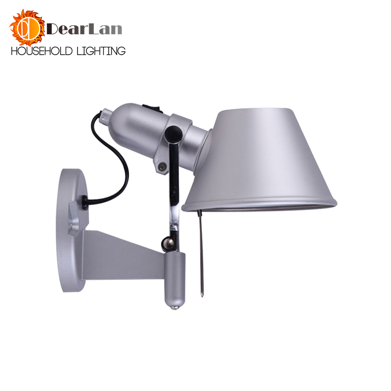 Modern Style Bedroom Wall Lamp Bedside Lamp Bedroom Stair Lamp E27 LED Silver Shade Single Aluminum Light Indoor Bedside Lights modern style bedside wall lamp bedroom stair lighting crystal wall lights e27 led bulb silver gold led lamp for bedroom decor