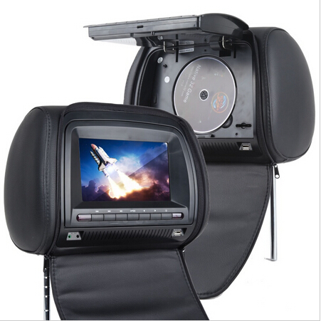 Car Headrest DVD Player Black Universal Digital Screen zipper Car Monitor USB FM TV Game IR Remote Support Russian eincar pair of car headrest dvd player monitor usb sd cd mp3 mp4 car entertainment fm ir headrest video player 2 ir headphones