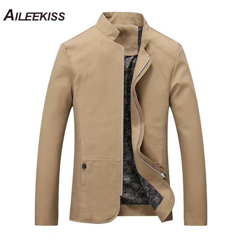 2018 Autumn Summer Spring Men Jacket Cotton Cargo Jackets New Design Plus Size Solid Casual Stand Male Windbreaker Cool XT316